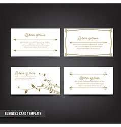 Business card template set 041 vintage clear and vector