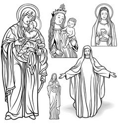 Virgin mary set vector