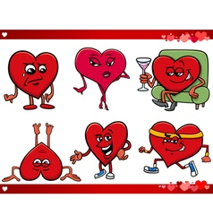 Valentine and love cartoon set vector