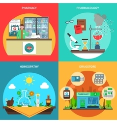 Pharmacy concept set vector