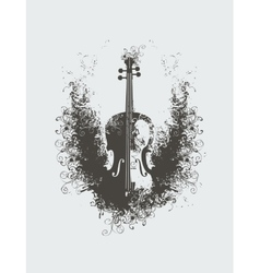 Violin with floral patterns vector