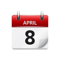 April 8 flat daily calendar icon date and vector