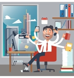 Multitasking business man at work vector