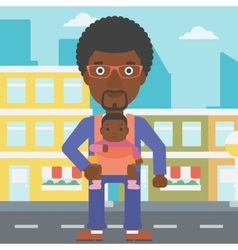 Father carrying his daughter in sling vector