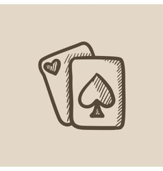 Playing cards sketch icon vector