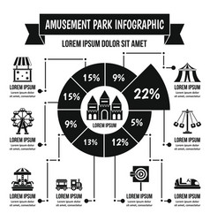 amusement park infographic concept simple style vector image vector image