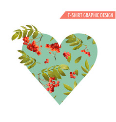 autumn t-shirt heart floral graphic rowanberry vector image vector image
