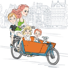Beautiful girl carries child on the bike in Amster vector image