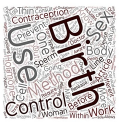 Birth control 101 text background wordcloud vector