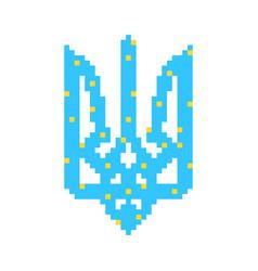 blue and yellow pixel art ukrainian emblem vector image vector image