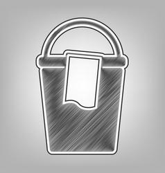 Bucket and a rag sign pencil sketch vector