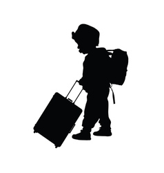 Child with travel bag black vector