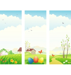Easter and spring vertical banners vector image vector image
