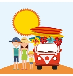Family sun truck surf board icon summer and vector