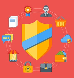 Flat design concept for internet security f vector