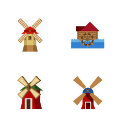 Flat icon mill set of watermill turbine rural vector
