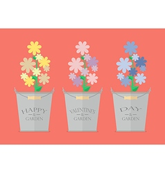 Flowers in pots with word happy valentines day vector