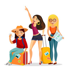 girls traveling together flat vector image