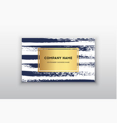 Gold business card templates with brush vector
