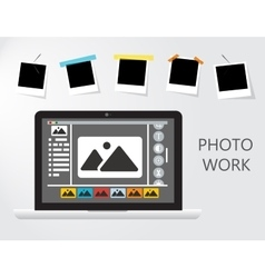 Laptop Icon on gray backgroud with photo frame vector image