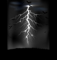 Lightning storm background with a bats vector