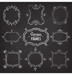 Set of 9 cute vintage chalk frames vector