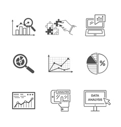 Set of black icons data analysis vector