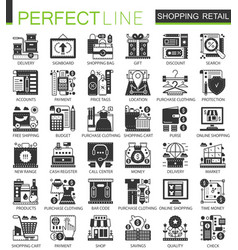 Shopping retail and commerce black mini concept vector