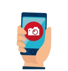 Smartphone with camera app vector