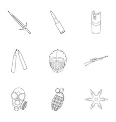 Weapon set icons in outline style big collection vector