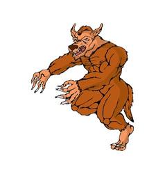 Werewolf wolfman running attacking vector