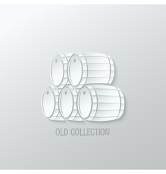 Wine barrel paper cut design background vector