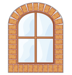 wooden window on brick wall vector image