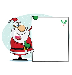 Jolly christmas santa holding up a blank sign vector