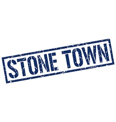 Stone town blue square stamp vector