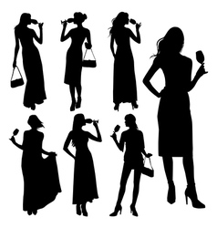 set of girl with a glass vector image