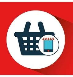 Digital e-commerce basket market buy graphic vector