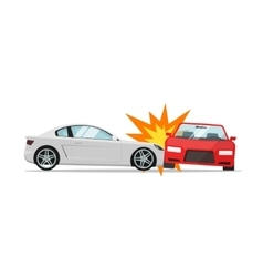 Car crash  two automobiles collision auto vector