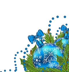 Greeting card with Christmas balls vector image