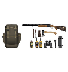 A set of realistic hunting equipment kit vector