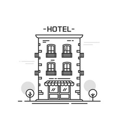 Hotel building line outline cartoon style vector