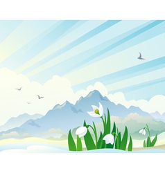 Spring landscape with snowdrops vector