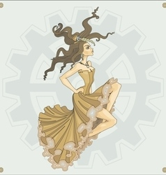 Victorian steampunk girl vector