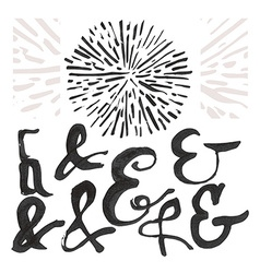 Ampersand set and a sunburst vector