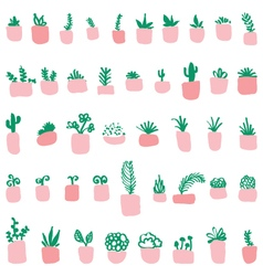 Pattern of the potted plants vector