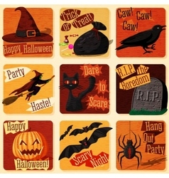 Collection of cute retro stylized halloween vector