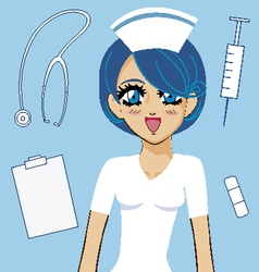Manga girl nurse vector