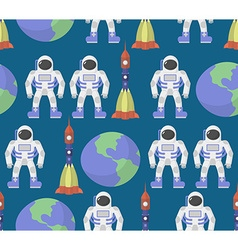 Astronaut and Earth seamless ornament background vector image