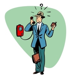Talking phone communication business people vector