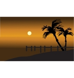 Palm trees on beach and pier silhouette vector